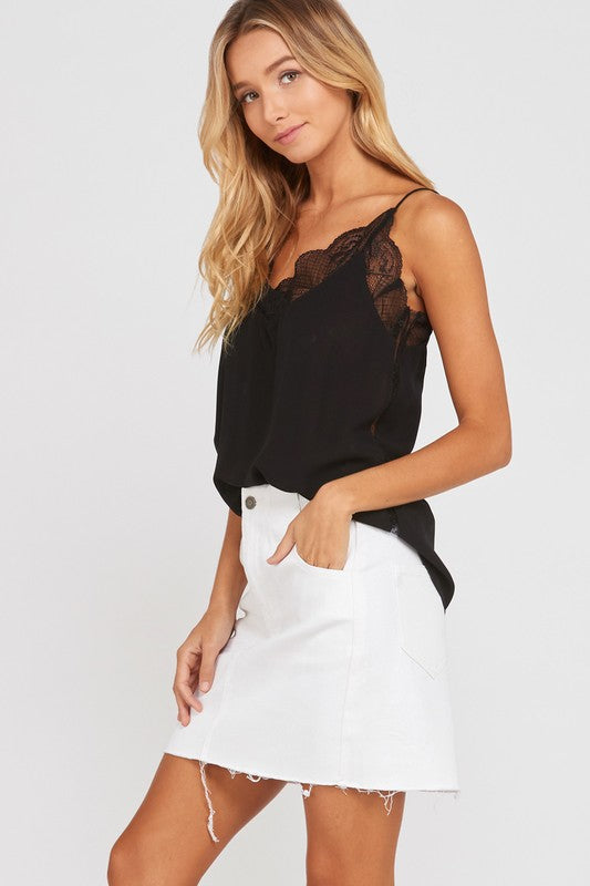 Wishlist Lace Trimmed Lined Crepe Camisole-Black