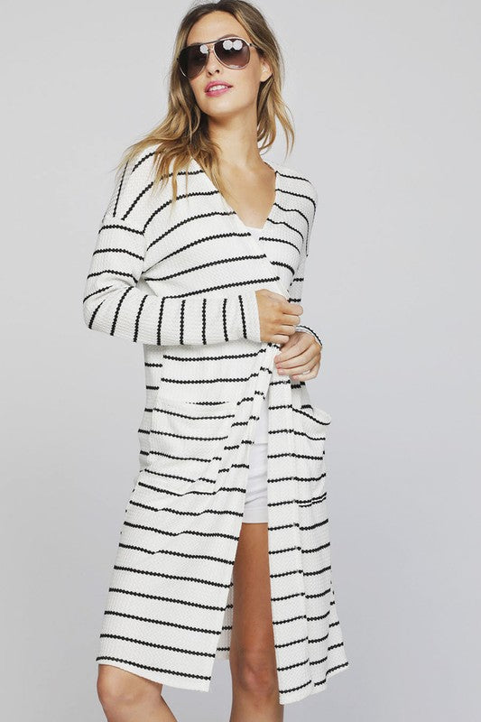 Stripe Thermal Open Front Cardigan w/Side Pockets - Ivory/Black