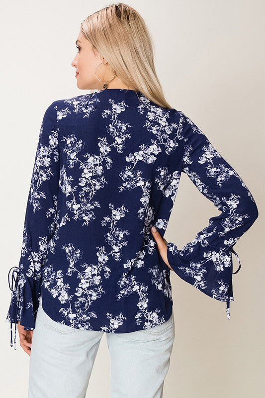 Fashion on Earth Floral Surplice Top with Cage Front - Navy - Ella J Boutique