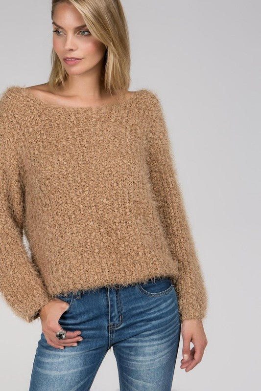 Pol Wide Neck Popcorn Sweater top - Mauve