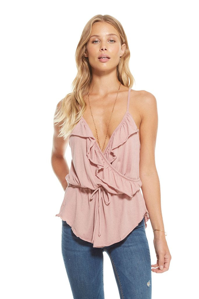Chaser Gauzy Cotton Jersey Ruffle Surplice Cami, Antique Rose - Ella J Boutique