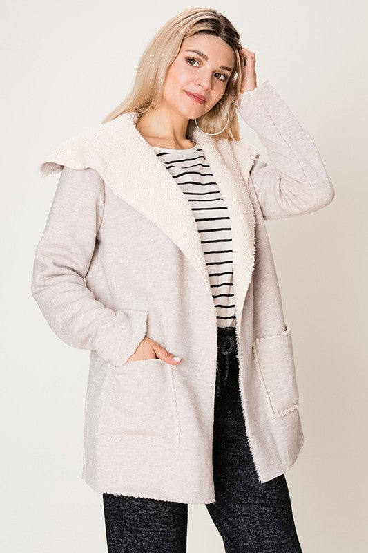 Fashion on Earth Faux Fur Lined Blazer Jacket - Heather Grey - Ella J Boutique