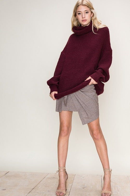 Cowl Neck Soft L/S Sweater-Plum