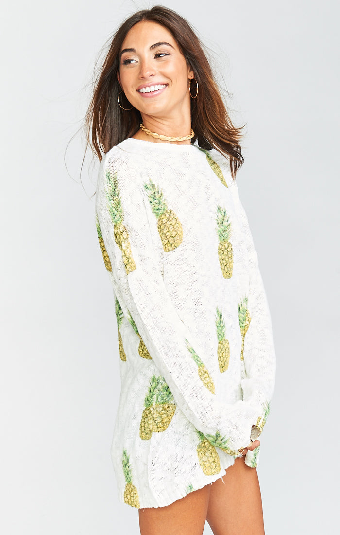 Show Me Your Mumu Varsity Sweater, Pineapple Paradise Knit - Ella J Boutique