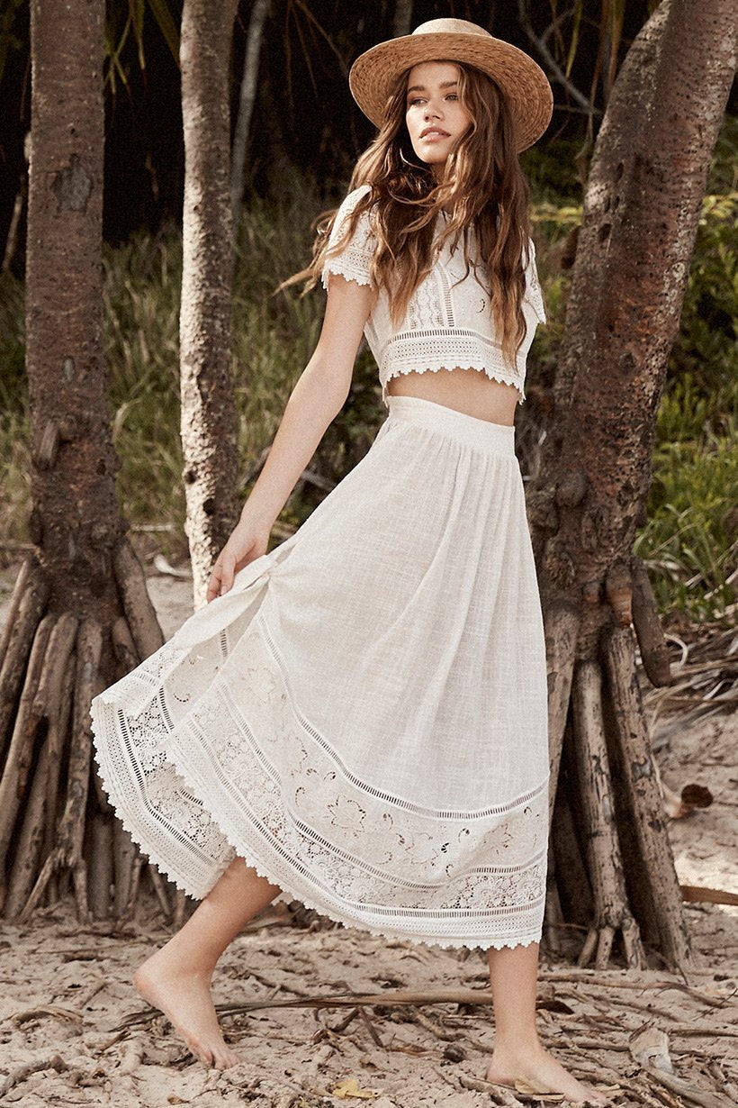 Spell Abigail Lace Tie Skirt