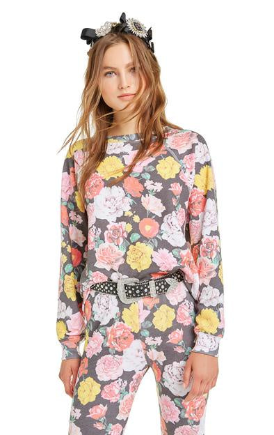 Wildfox Queen's Garden Sommers Sweater - Multi colored floral sweatshirt