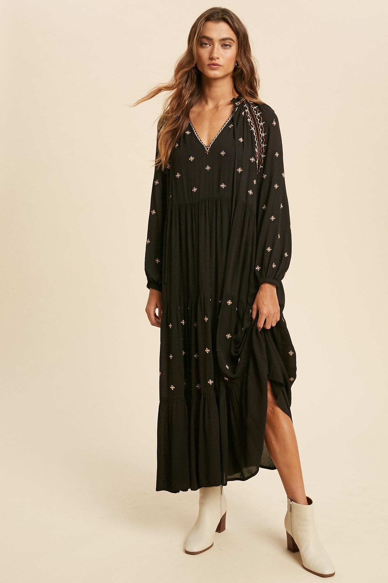 BOHO EMBROIDERED TIERED DRESS-Black