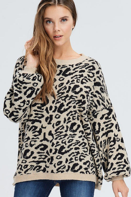 Apple Latte Animal Print Sweater - Black/Khaki