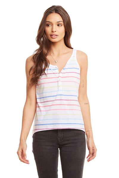 Chaser Rainbow Stripe Vintage Jersey Snap Front Hi-Lo Henley Baby Tank