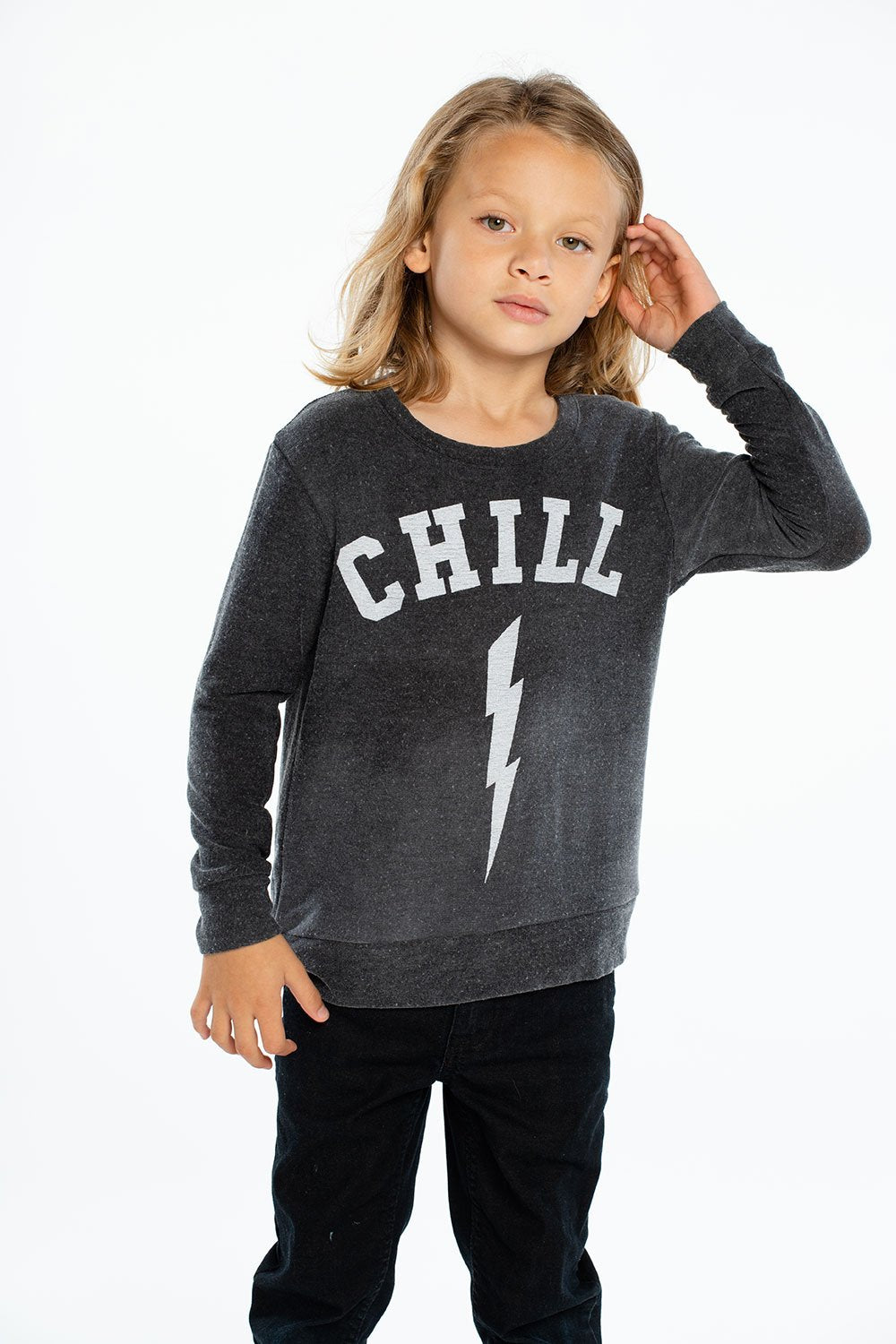 Chaser Kids Chill Boys Cozy Knit L/S Crew Neck Pullover Sweater - Black - Ella J Boutique