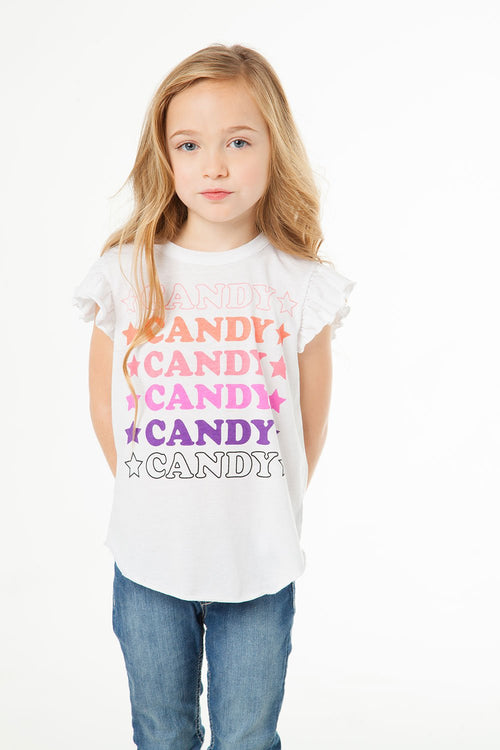 Chaser Candy Star Girls Vintage Jersey Flutter Sleeve Shirttail Tee