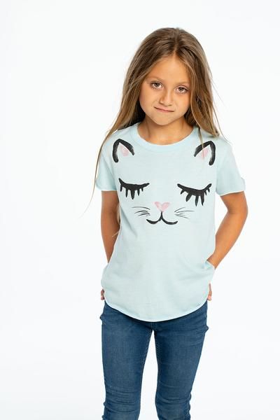 Chaser Kids Rainbow Kitty Vintage Jersey S/S Shirttail Crew Neck Tee - Crystal - Ella J Boutique