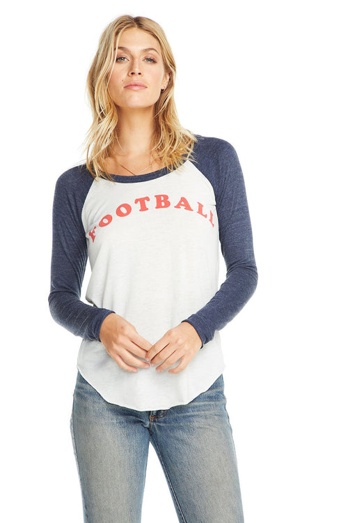 Chaser Football L/S Shirttail Baseball Raglan - Salt & Avalon