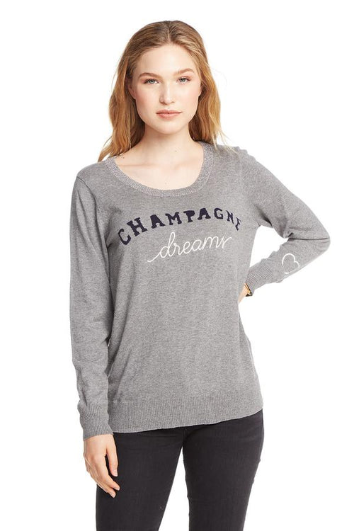 Chaser Champagne Dreams L/S Crew Neck Pullover - Heather Grey