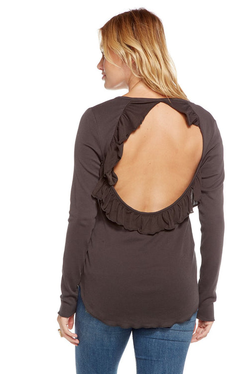 Chaser Baby Rib L/S Ruffle Vent Back Henley, Vintage Black
