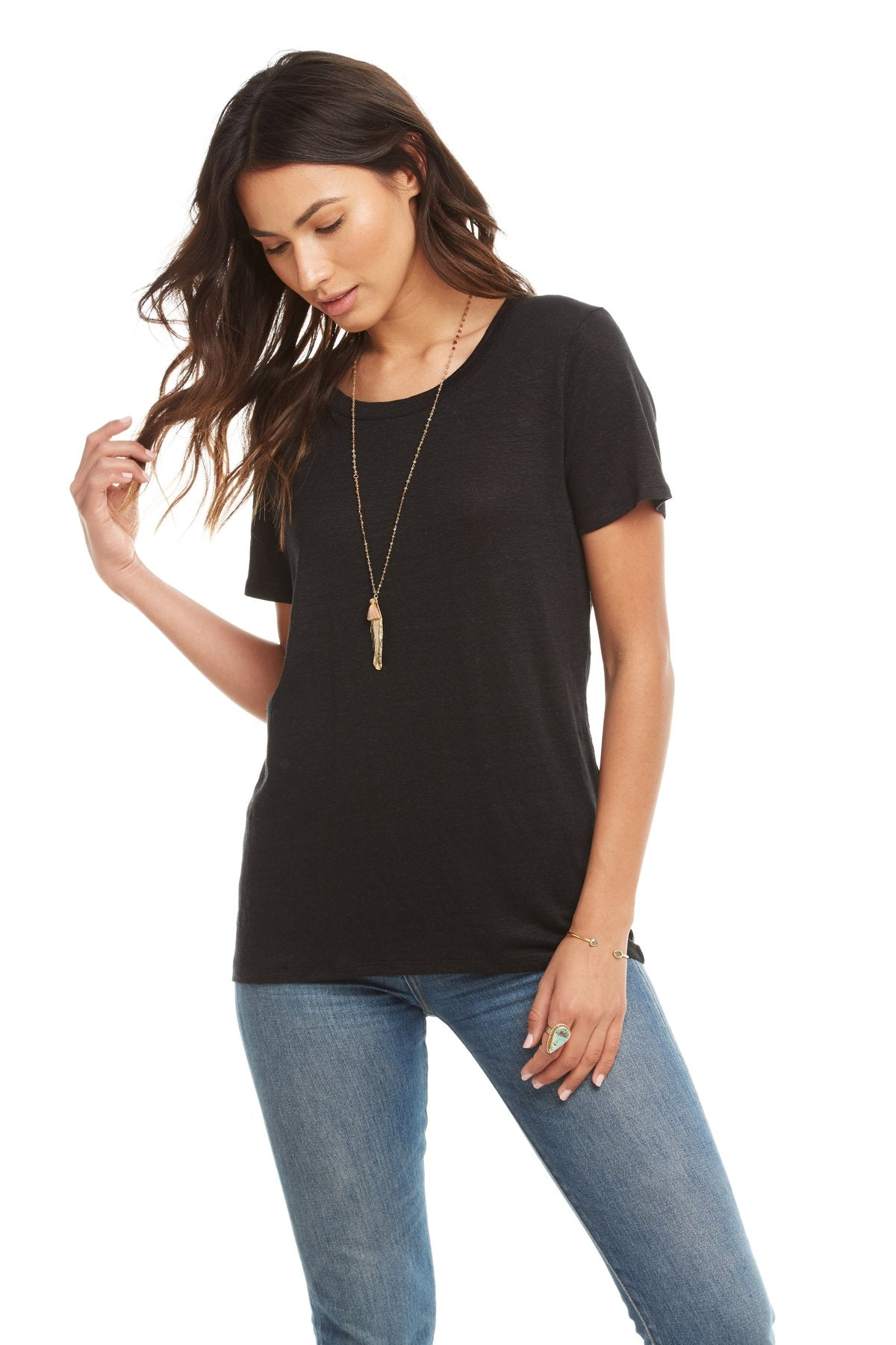 Chaser Linen Jersey S/S Lace-Up Back Hi-Lo Tee, True Black - Ella J Boutique