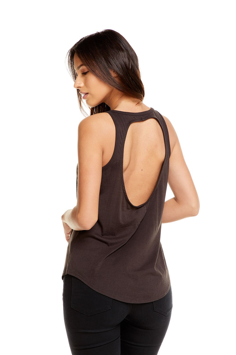 Chaser Vintage Jersey Open Back Shirttail Tank, Union Black - Ella J Boutique