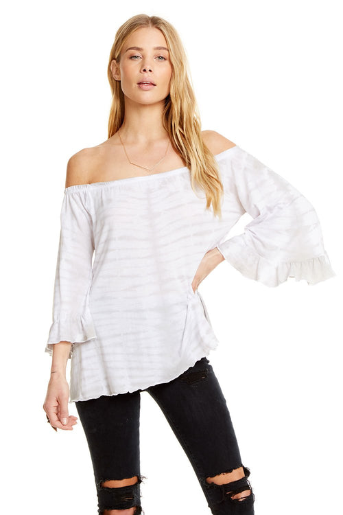 Chaser Vintage Jersey Shirred Off Shoulder Ruffle Sleeve Top, Tie Dye