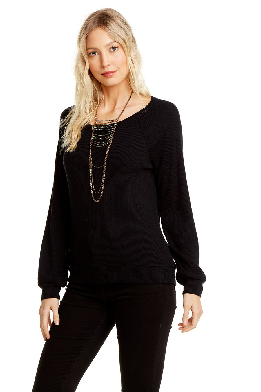 Chaser Love Rib L/S Vent Back Raglan Pullover - True Black - Ella J Boutique