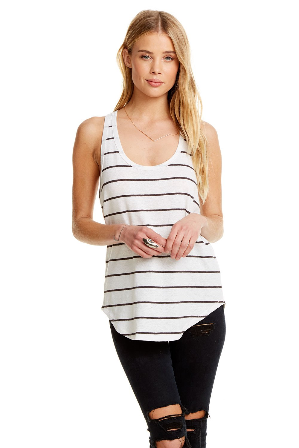 Chaser Linen Jersey Seamed Shirttail Racer Back Easy Tank, Stripe - Ella J Boutique