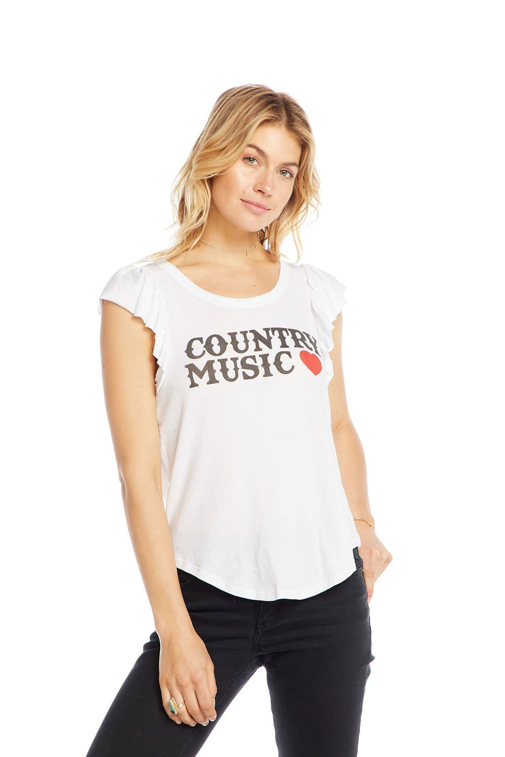 Chaser Country Music Flutter Sleeve Shirttail Tee - White