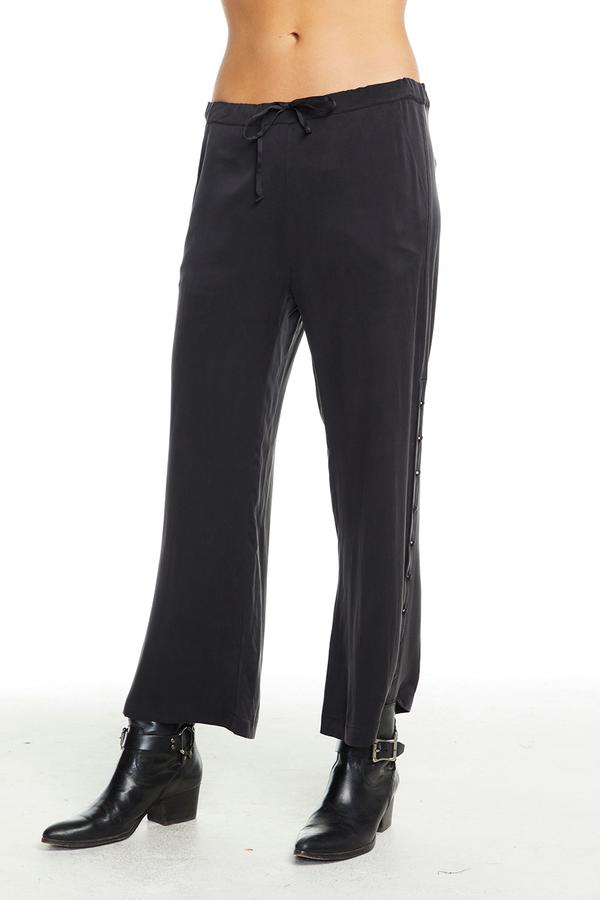 Chaser Button Side Drawstring Trousers - True Black - Ella J Boutique