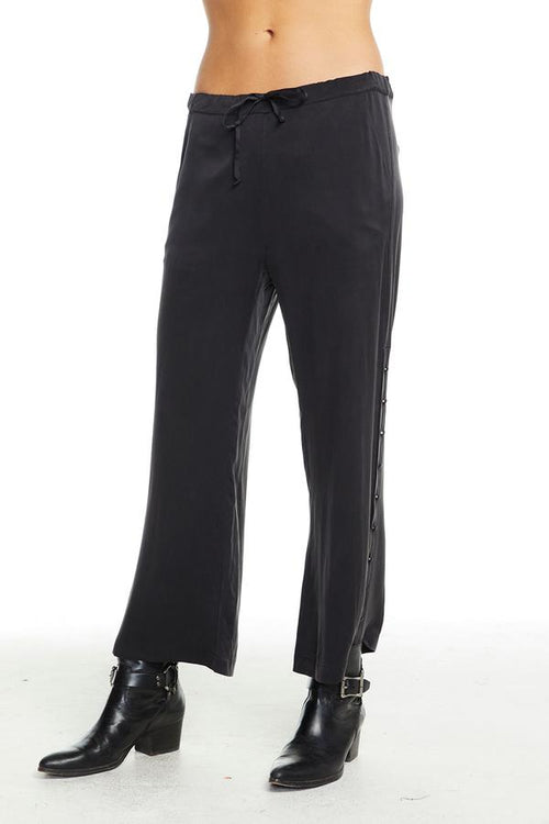 Chaser Button Side Drawstring Trousers - True Black
