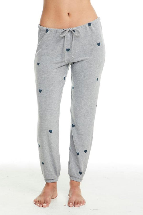 Chaser Tiny Hearts Pant Lounge Pant - Heather Grey