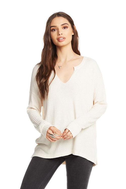 Chaser Thermal L/S Split Neck Henley - Cake (creamy ivory)