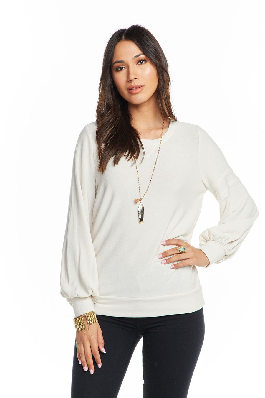 Chaser Cozy Knit Bishop Sleeve Wide Neck Pullover w/Strappings - Cake (creamy ivory) - Ella J Boutique