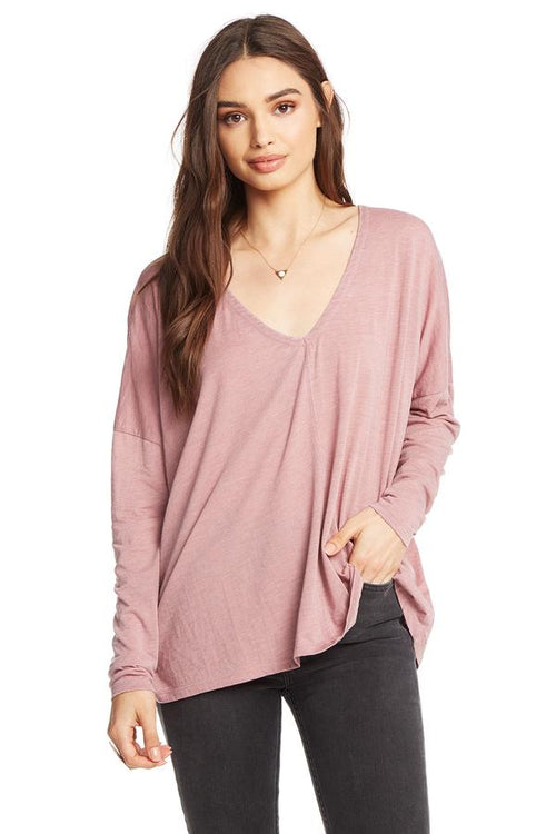 Chaser Vintage Jersey Relaxed L/S Double V Top - Rosebud (dusty pink)