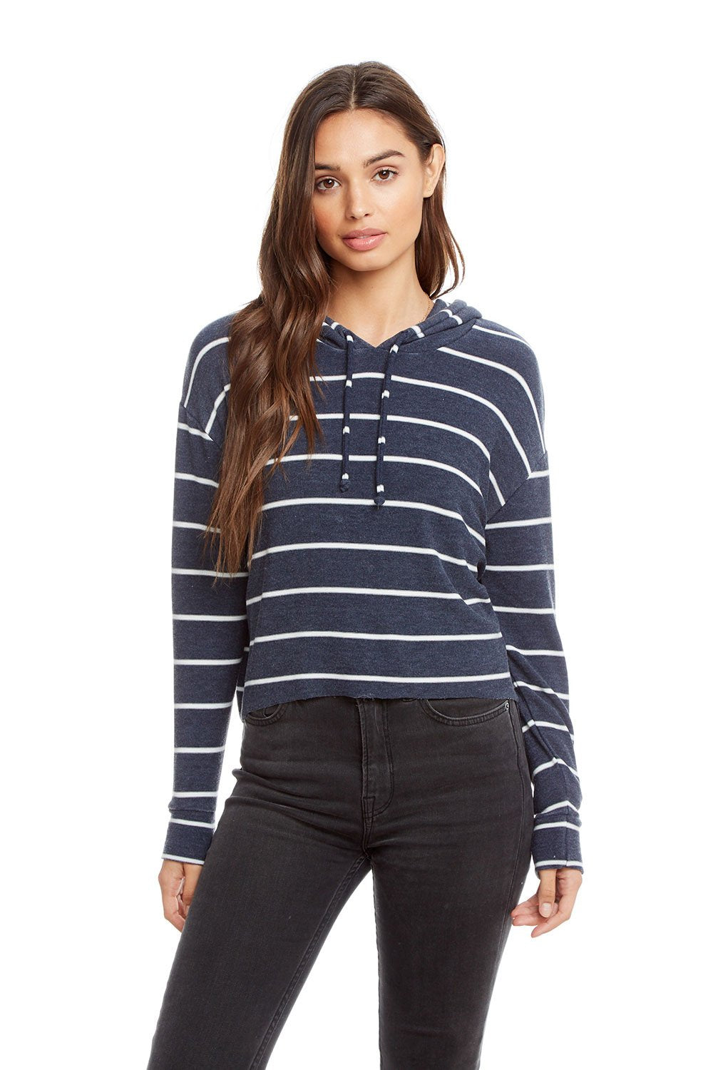 Chaser Cozy Knit L/S Hi Lo Cropped Hoodie - Dark blue with white stripes