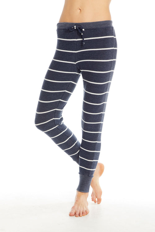 Chaser Cozy Knit Drawstring Cuffed Jogger - Dark Blue with white stripes
