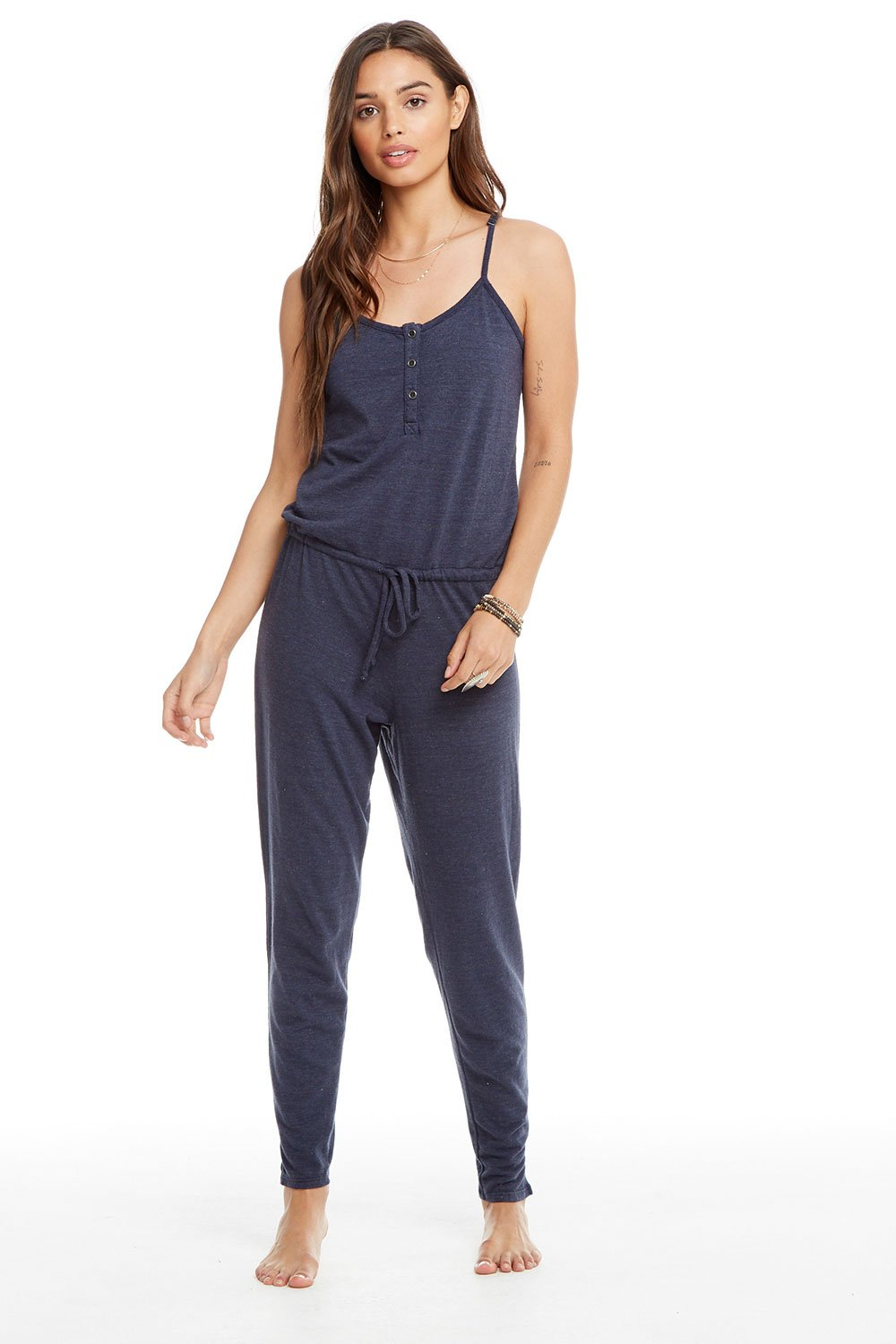 Chaser Triblend Scoop Back Drawstring Waist Henley Jumpsuit - Major (Dark Blue)