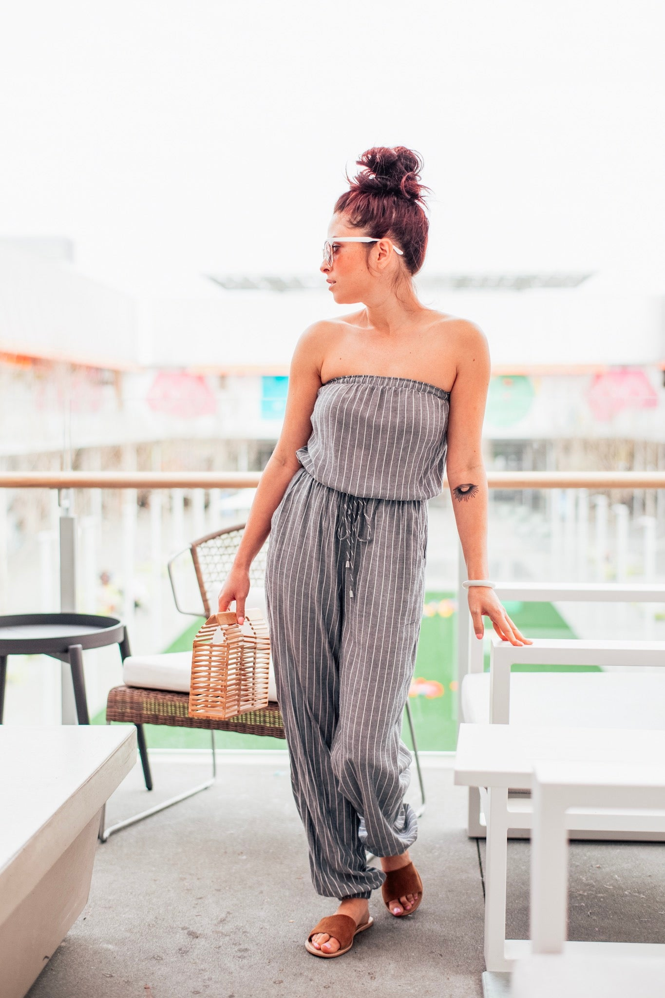 Grey Stripe Strapless Cinched Waist Tie Jumpsuit