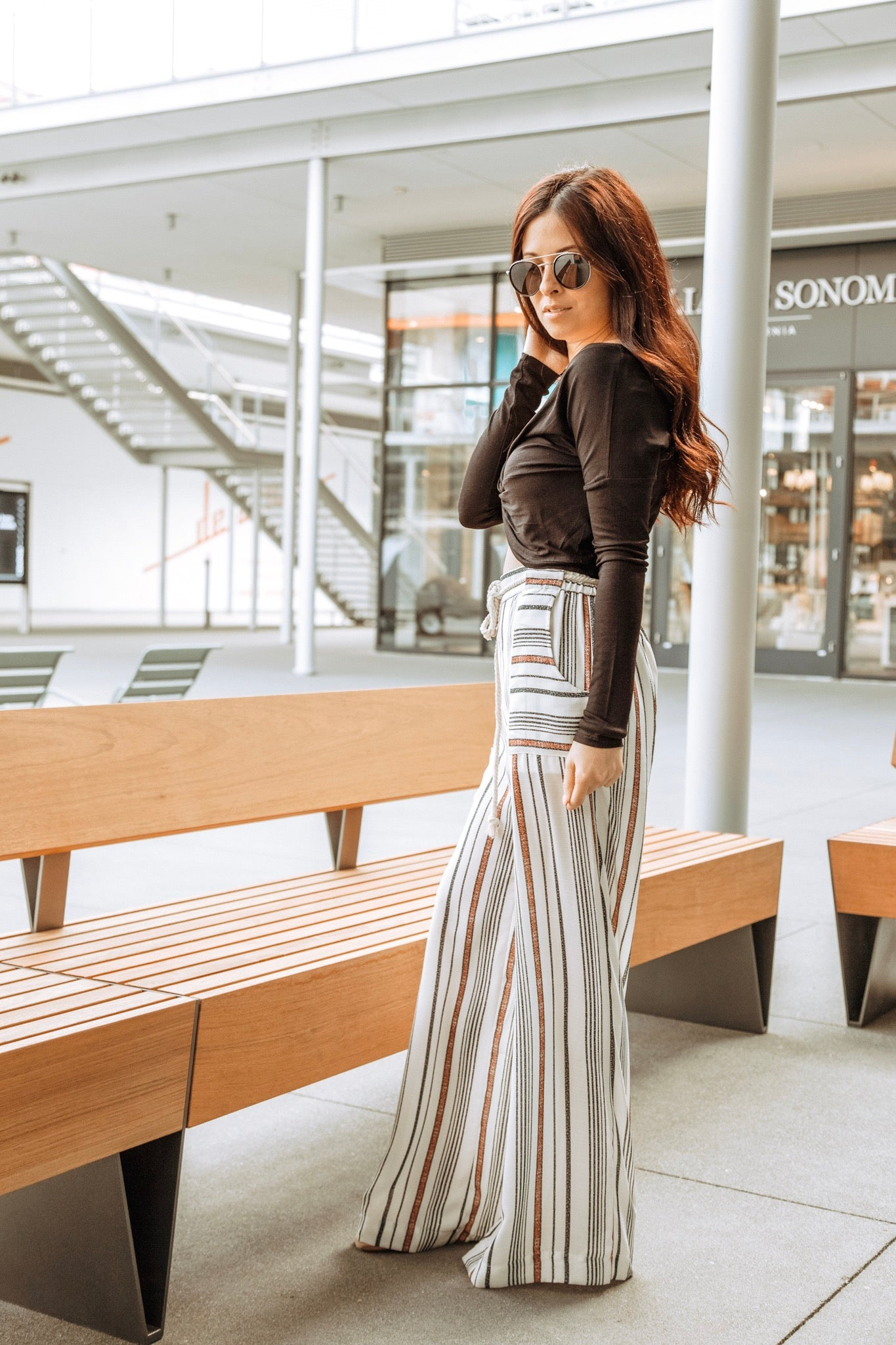 Black/Wine Striped Wide Palazzo Pants with Rope Tie Belt - Ella J Boutique