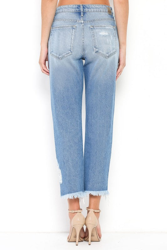 "Hidden ""Tracey"" High Waist  Frayed Hem Straight Crop(Mom Fit), Medium Blue Wash - Ella J Boutique"