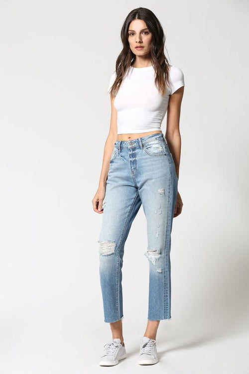 Hidden Tracey High Rise Distressed Straight Crop, Clean Cut Hem - Light Blue