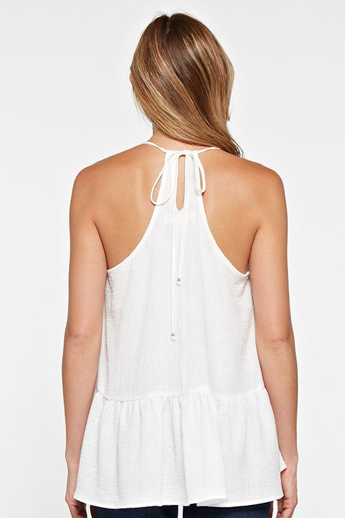 High Low  Double Gauze Ruffle Tie Back Cami Top