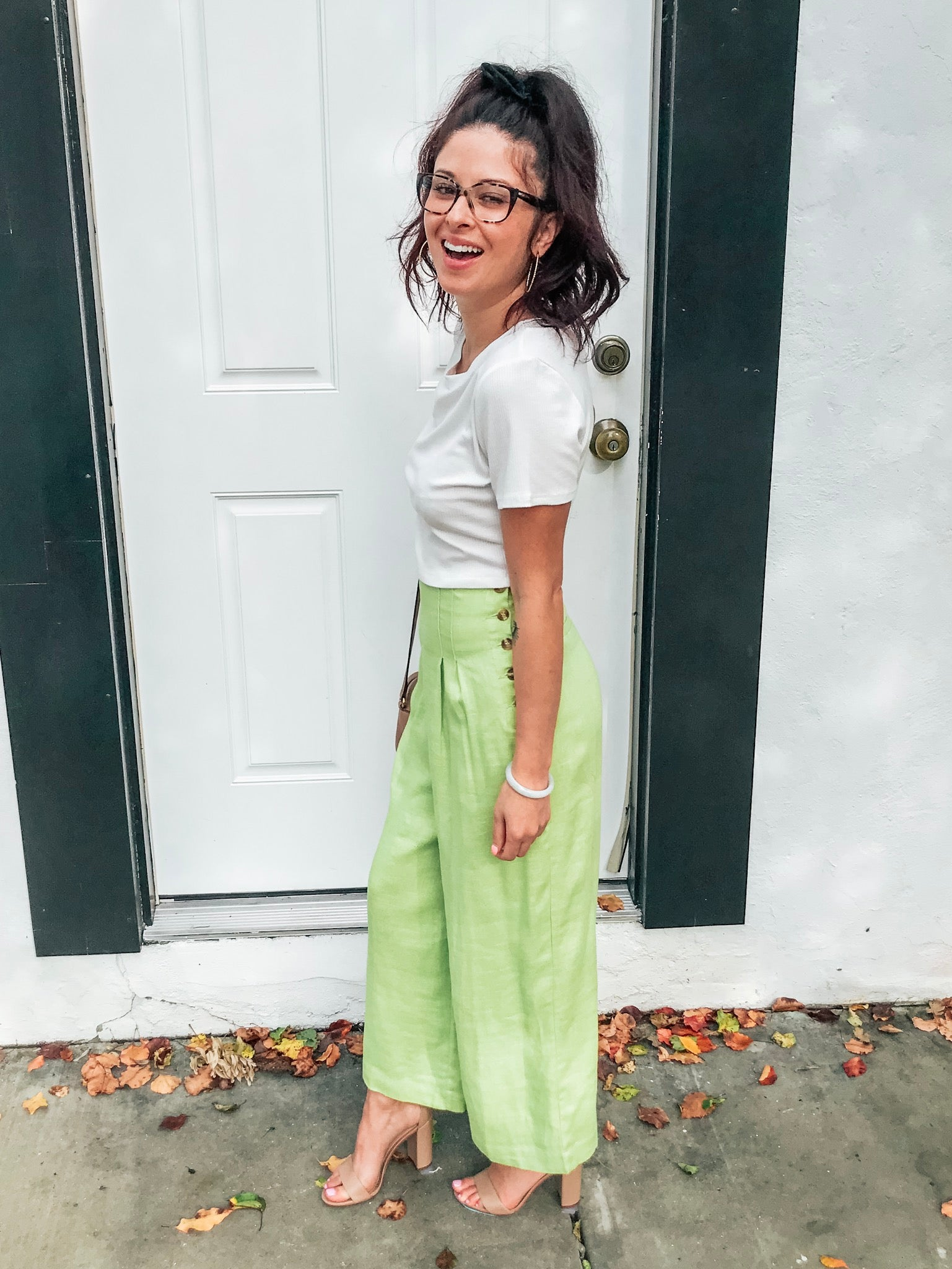 Lost+Wander Cactus Bloom Wide Pants - Lime Green