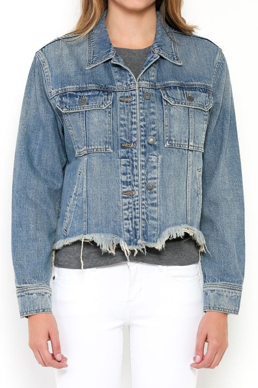 "Hidden ""Rebel"" Cropped Frayed Waist Jacket, Medium Blue Wash - Ella J Boutique"
