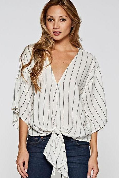 Lovesitch Stripe Button Down Tie Blouse - Ella J Boutique