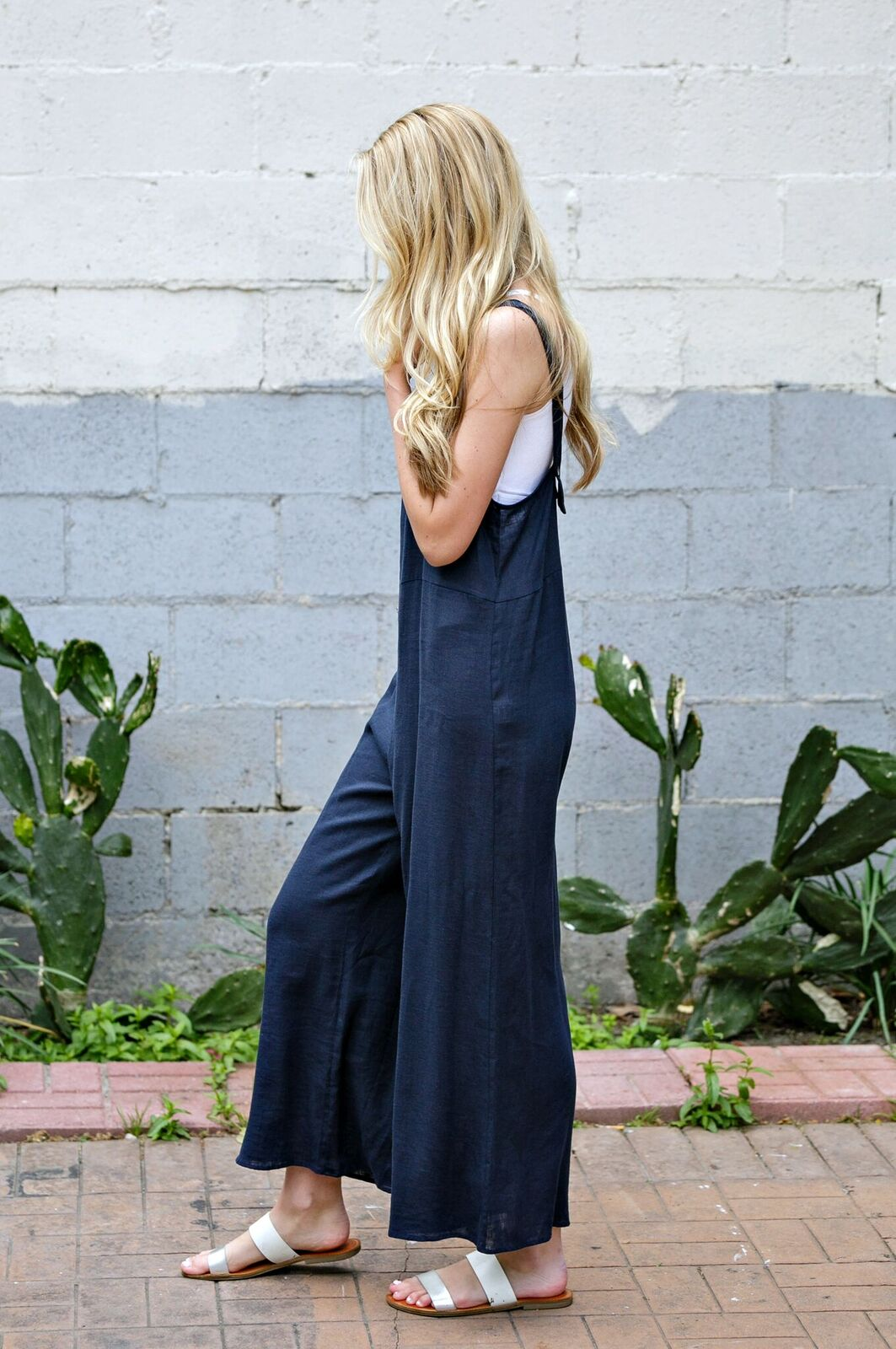 Navy Solid Overall Jumpsuit - Ella J Boutique