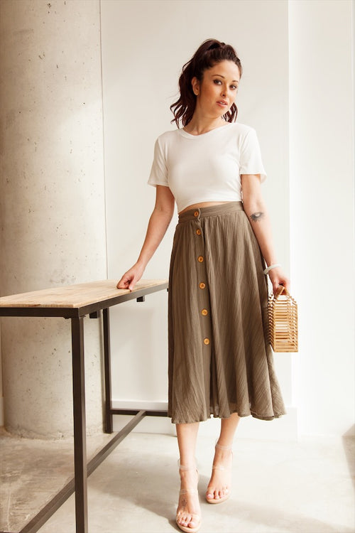 Olive Button Front Midi Flowy Skirt