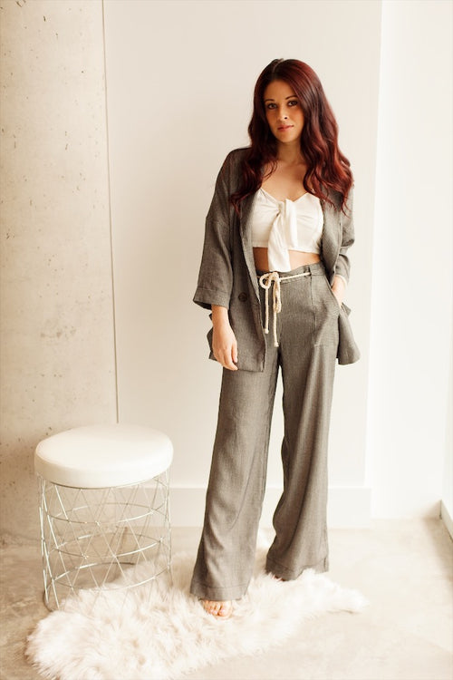 Black Stripe Wide Legged Pants with Rope Belt