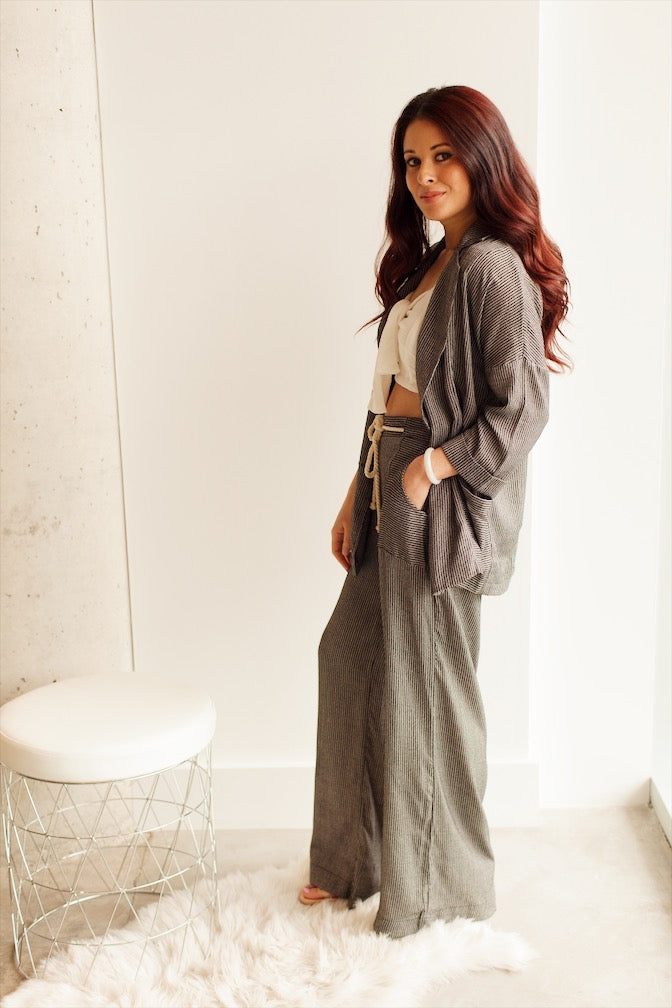 Black Stripe Wide Legged Pants with Rope Belt - Ella J Boutique