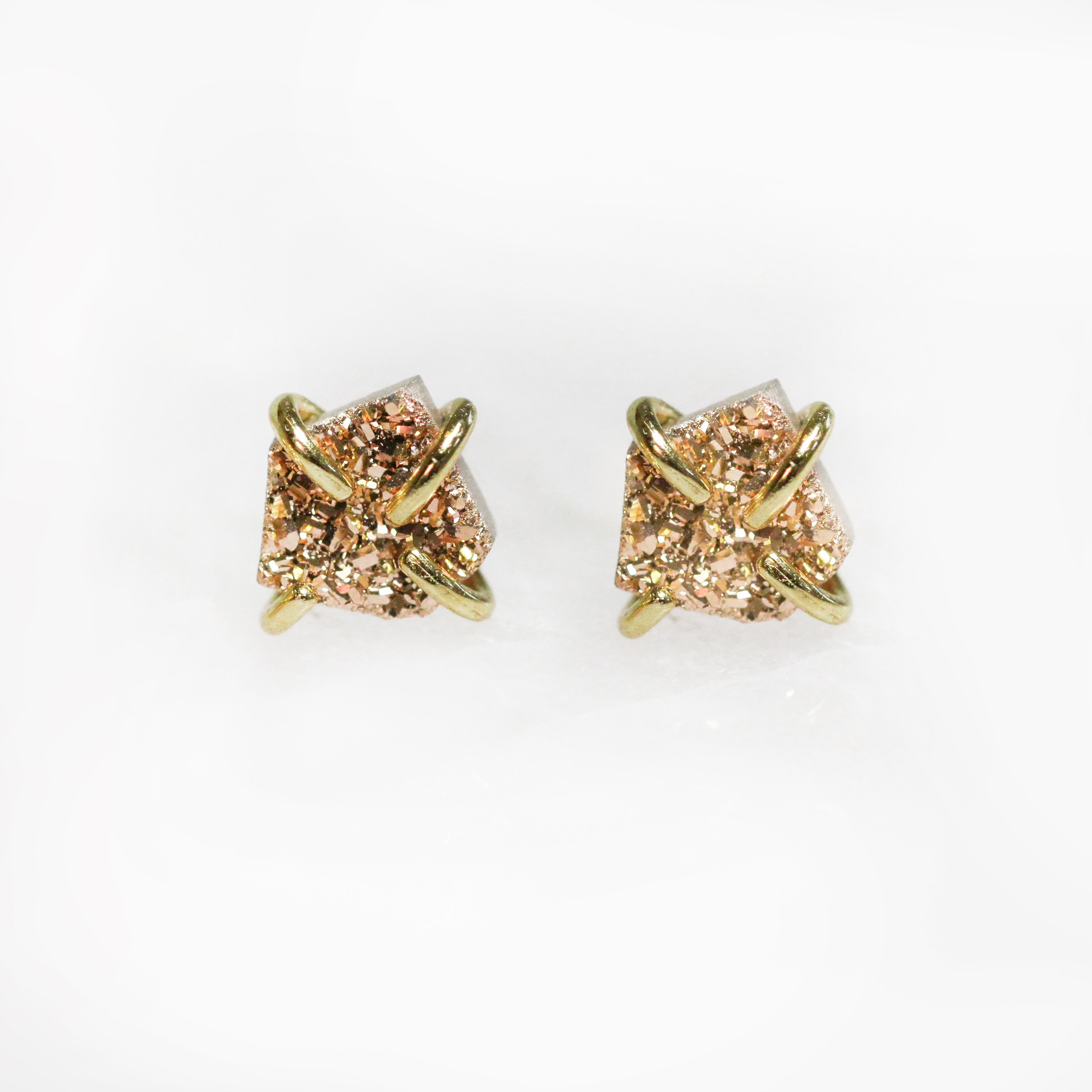 JaxKelly Rose Gold Druzy Prong Earrings (sterling silver 18K gold plated prong)