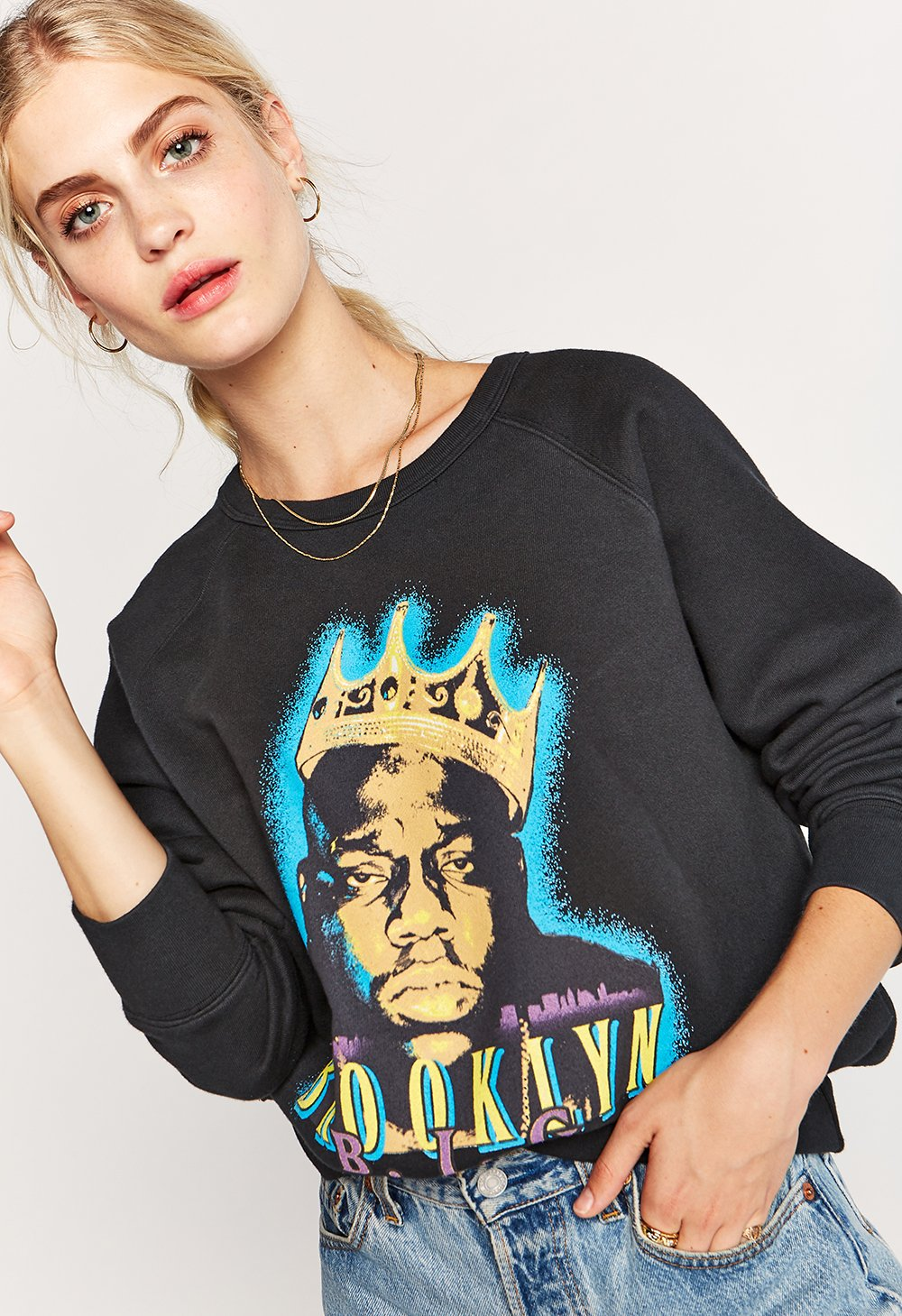 Daydreamer Biggie King of Brooklyn Raglan Pullover - Black - Ella J Boutique