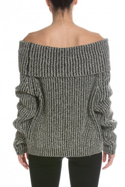 Elan Off Shoulder Sweater - Natural Black - Ella J Boutique