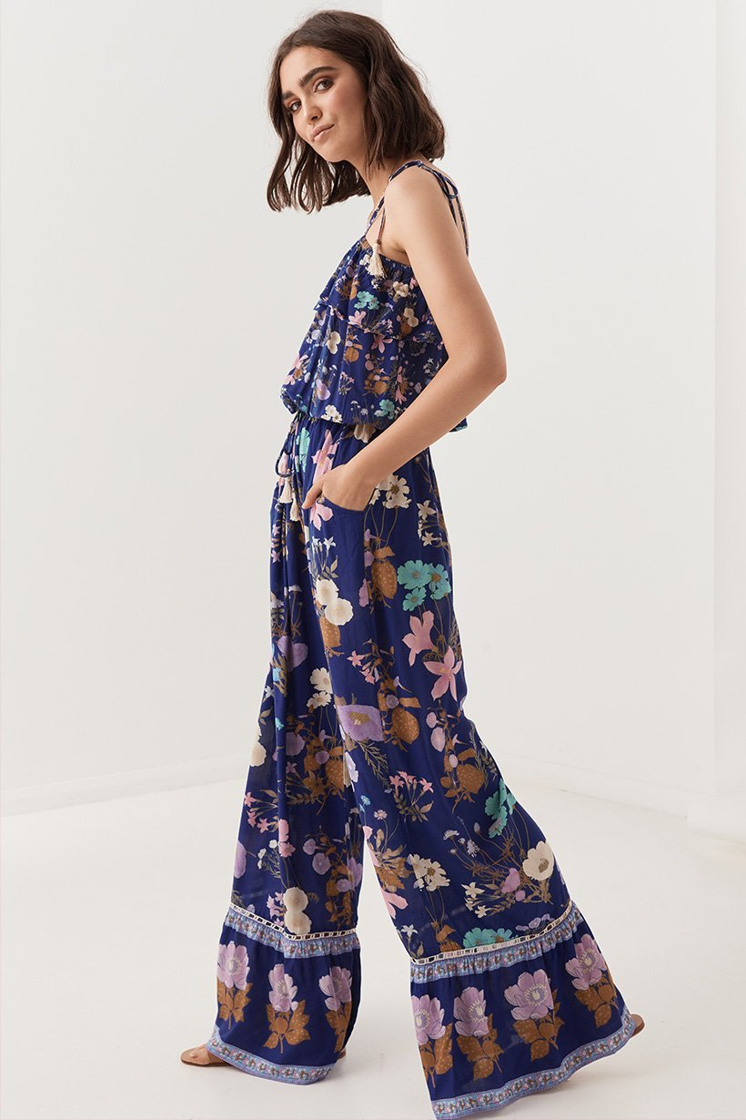 Spell Designs Wild Bloom Strappy Pantsuit (jumpsuit) - Navy